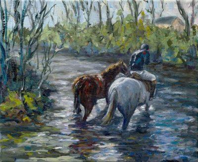 jockey, horse, painting, racing