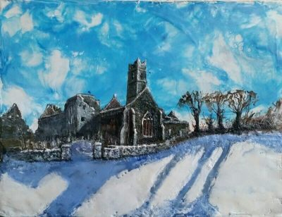 painting, quin abbey, winter, seasons based in Quin County Clare
