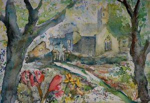 painting, quin, abbey, quin abbey,spring