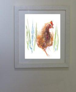 hen, chicken, painting, long grass, dinner.