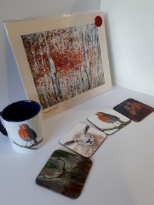 Large gift box including 4 coasters, mug and A4 fine art print by Helen Lowe of Quin Art Shop