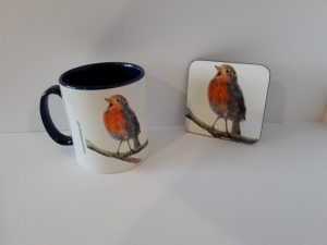 Mug as part of small gift box with original art work by Helen Lowe Quin Artist living in Co Clare