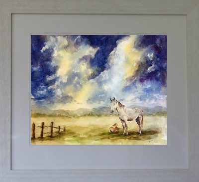 original painting, horse, mare and foal