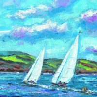 painting, Lough Derg, sailing