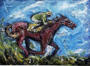 painting, jocket, racing, horse