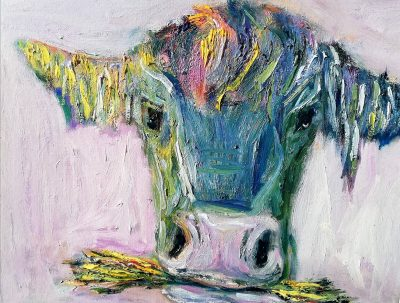 oil painting, cow, eating , hay