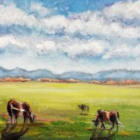 painting, cow, summer, daylight