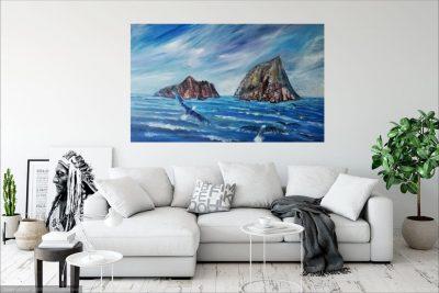 orignal, painting, island, ireland, Skellig Michael.