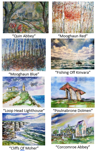 Pack of eight greeting cards, Irish landscape. monetary, Forrest, woods, sea, lighthouse, tomb, cliff, abbey.