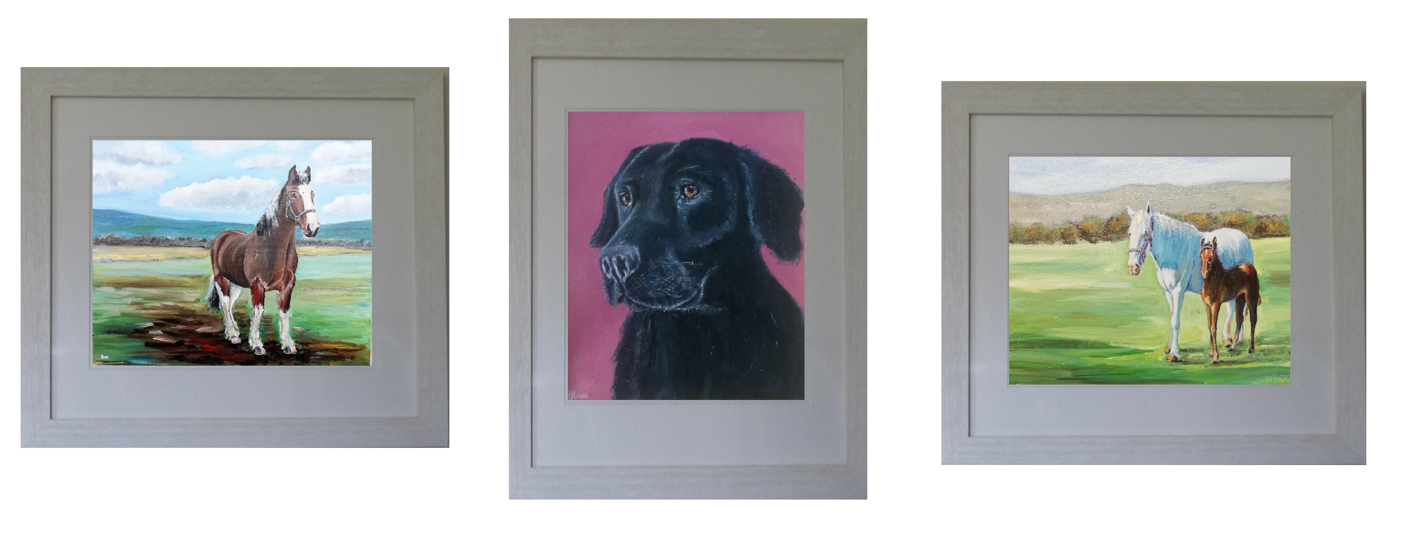 Pet portrait dog horse oil painting