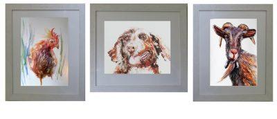 pet portrait goat dog chicken watercolor frame mount