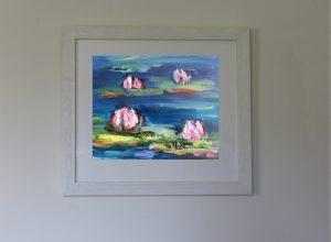 Flower waterlillies oil painting frame