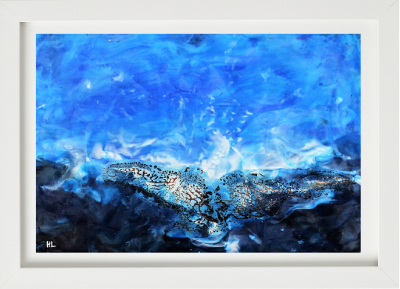 Print framed Wild Atlantic Way encaustic seascape